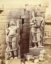 Close view of sculptures of Parashurama and Ramachandavatara (Rama incarnations of Vishnu), Garhwa, Allahabad District